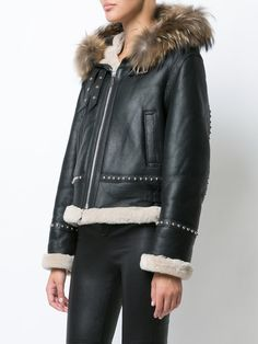 Barbara Bui fur trim leather jacket