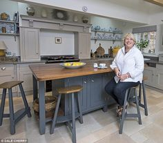 COUNTRY CHIC: Anne Salisbury relaxes in her elegantly subdued new kitchen
