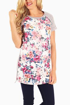 Grey-Ivory-Multi-Colored-Floral-Quilted-Knit-Maternity-Top #maternity #fashion #cutematernityclothing #cutematernitytops #falloutfits #falltrends