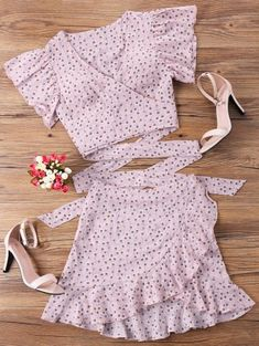 Pink Wrap Top with Matching Pink Skirt, Pink Mini Skirt and Top, Pink Summer Outfits, - Season Outfits Crop Top Outfits, Pink Outfits, Cute Summer Outfits, Trendy Outfits, Fashion Outfits, Fashion Trends, Trendy Fashion, Style Fashion, Fashion Styles