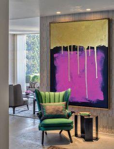 Kunst aan de grote muur, grote acryl, schilderen op doek, goud & paars, acryl abstract, wandkleden, gouden kunst, moderne kunst, grote kunst schilderij door Ron Deri ------------------------------ #1 top verkoper schilderij ------------------------------ In het houten frame en klaar om