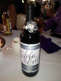 Wine themed wedding favors, personalized wine bottle wedding favors, Black, white and purple wedding, Personalized wine bottle labels