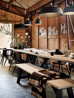 Love the mix of seating and pendant lights.