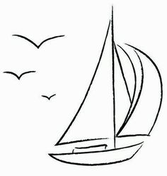 Chalk Sailboat with Birds Outline vector image on VectorStock Outline Drawings, Easy Drawings, Segel Tattoo, Sailboat Drawing, Sailboat Painting, Images Lindas, Bird Outline, Art Inspiration Drawing, Chalkboard Art