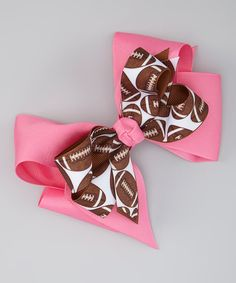 Pink Football Bow Clip