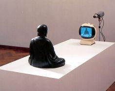 Nam June Paik TV Buddha * 1974 - Closed Circuit Video-Installation with Bronze Sculpture on ArtStack Nam June Paik, Merce Cunningham, Neo Dada, Avant Garde Artists, San Francisco Museums, Video Installation, Interactive Installation, Video Artist, The Future Is Now