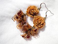 Beige Brown Rose Lucite Bell Flower Bronze Earrings. by juta230, $23.00
