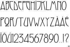 Swaak Centennial - Art nouveau font; triangular D; curved leg on E; similar curves on C, E, G, J; high bar on E, F, G, H; Z-shaped Q tail; closed bowl on U