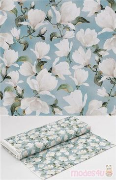 """blue cotton fabric with white Magnolia, green leaves, very high quality fabric, typical great Michael Miller quality, Material: 100% cotton, Pattern Repeat: ca.30cm(11.8"""") #Cotton #Flower #Leaf #Plants #USAFabrics"""