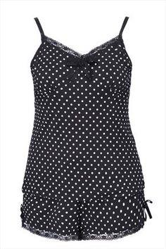 Spot print pyjamas with lace detail shorts