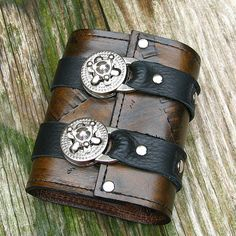 Leather Steampunk Credit Card Wristband Wallet for Women and Men - Brown and Black