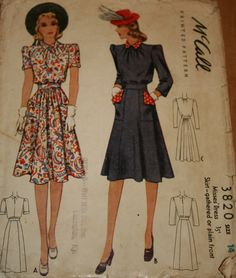 McCall 3820: Misses' dress, skirt--plain or gathered front