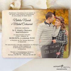 Drewniane zaproszenie ślubne ze zdjęciem