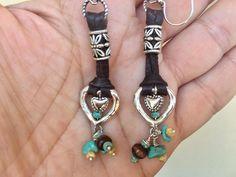 Boho Rustic Western Leather Sterling Heart Earrings by Bohemystic on Etsy