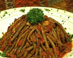 Green beans and tomatoes stew, from Taste of Beirut