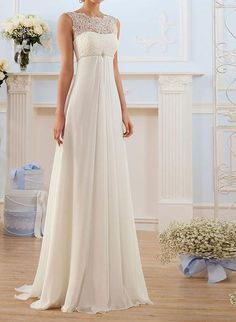 Simple Lace Wedding Dress, Wedding Dress Chiffon, Perfect Wedding Dress, Cheap Wedding Dress, Wedding Dress Styles, Dream Wedding Dresses, Wedding Gowns, Empire Wedding Dresses, Wedding Lace