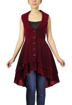 This beautifully rich, velvety, fabric makes this vest traditionally Gothic! This long vest features some lovely ruffle detail at the back making it a real statement piece.
