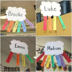 Idea: during back to school night, have kids cut out the cloud and have parents write adjectives on the rainbow strips. Name Activities, Back To School Activities, Classroom Activities, Spanish Activities, Spring Activities, Beginning Of The School Year, First Day Of School, School Days, Kids Crafts
