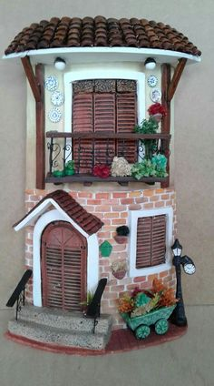 Clay Fairy House, Fairy Garden Houses, Clay H Diy Crafts Slime, Tile Crafts, Diy And Crafts, Clay Fairy House, Fairy Garden Houses, Miniature Fairy Gardens, Miniature Houses, Miniature Dolls, Clay Houses
