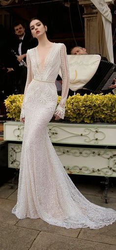 Looking for the perfect bridal for your own big day? If you are going to be an Autumn bride, you can consider a long sleeve wedding dress which is timeless and… V Neck Wedding Dress, Long Sleeve Wedding, Long Sleeve Gown, Inbal Dror Wedding Dress, Long Gown With Sleeves, Unique Wedding Dress, Couture Wedding Gowns, Gown Wedding, Wedding Reception