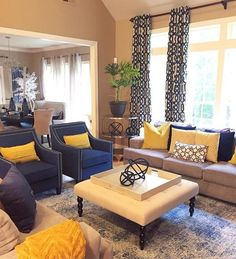 Living room color scheme, At Home has navy accent chairs! Living room color scheme, At Home has navy accent chairs! Blue And Yellow Living Room, Living Room Themes, Blue Living Room Decor, Colourful Living Room, Living Room Color Schemes, Elegant Living Room, Living Room Colors, Home Living Room, Living Room Designs