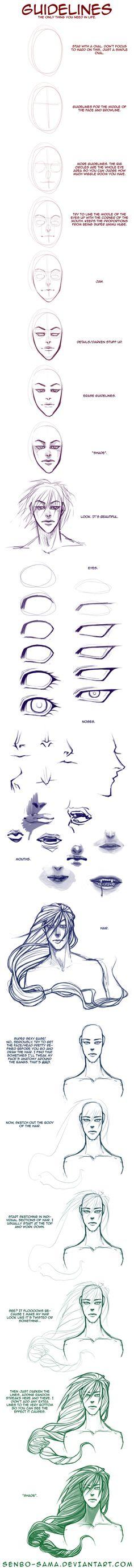"Face and Hair ""Tutorial"" by =senbo-sama"