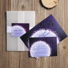 InvitesWeddings specializes in offering large collection of elegant purple wedding invitations cheap with diversified shades suitable for different wedding themes. Purple Wedding Invitations, Wedding Invitations Online, Pocket Wedding Invitations, Got Married, Getting Married, Paper Pocket, Vellum Paper, Vintage Theme, Reception Card