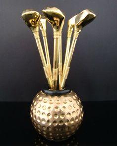 Set of 6 Vintage Cocktail Picks // Golf Ball Golf Club Martini Picks / Olive Picks / Fruit Picks // Mid Century Barware