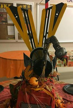 Turkey made from school bus parts 🦃