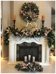 Set Of 3 Pc Christmas Decor Stunning Icy Pink Decor Free Etsy Diy Christmas Fireplace, Christmas Mantels, Gold Christmas, Christmas 2019, Christmas Home, Christmas Wreaths, Fireplace Ideas, Fireplace Furniture, Christmas Trends