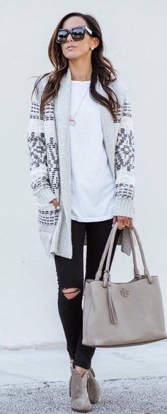 how to style a knit cardigan : white top + bag + rips + boots