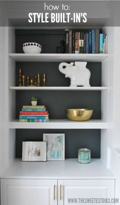 How to style built in shelves with items from around your house - via the sweetest digs