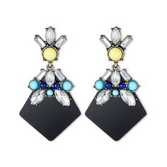 Sugarfix by BaubleBar Embellished Drop Earrings ($15) ❤ liked on Polyvore featuring jewelry, earrings, black, statement earrings, earring jewelry, cabochon jewelry, post earrings and statement drop earrings