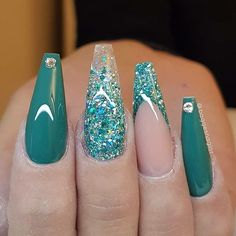 Coffin teal green shiny nail design with teal green glitter french tips! Beautiful nails by @baggesnaglar Ugly Duckling Nails page is dedicated to promoting quality, inspirational nails created by International Nail Artists #nailartaddict #nailswag #naila