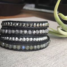 Black and silver wrap bracelet bohemian jewelry bridesmaid