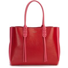Lanvin Small Tasseled Leather Shopper ($1,450) ❤ liked on Polyvore featuring bags, handbags, tote bags, apparel & accessories, red, red tote bag, leather tote, leather handbags, leather shopper and red leather tote