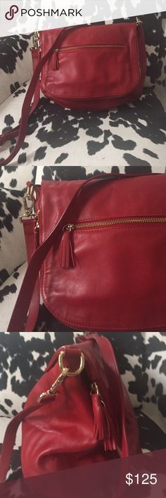 A.Bellucci Red Plush Italy Plush Red leather Bag Bags Shoulder Bags