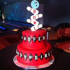 Cooper's Bowling 5th Birthday Cake by Chef Francis from Rustika Bakery! Rustikacafe@gmail.com or rustikacafe.com!! #rustikacafe