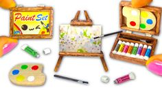 Enjoy learning how to make a miniature Paint Set: paintings / canvases, easel, palette, acrylic colors, paintbrush,... and a cute and kawaii wooden painting ...