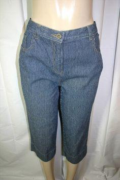 11.08$  Buy here - http://vidcj.justgood.pw/vig/item.php?t=hji7pa32700 - Christopher & Banks Sz 6 Dark Blue White Striped Capri Jeans