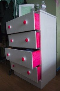 DIY Peek-a-boo dresser .. love this.. red where this one is gray and aqua where this one is pink