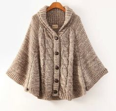 Batwing Tops Poncho féminines tricot Cardigan Cape manches longues manteau pull maille