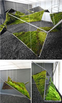 Instalación destinada a espacios comerciales. Los montantes verticales sustentan una segunda estructura de plegados sobre los que se apoyan zonas de jardín tipo vertical.