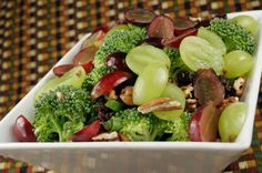 Delicious Broccoli-Grape Salad. I'd rather you not have the raisins because most have added sugar! Try this with just a FEW toasted pecans and mix some lowfat greek yogurt with it and stick it in the fridge for a nice treat :)