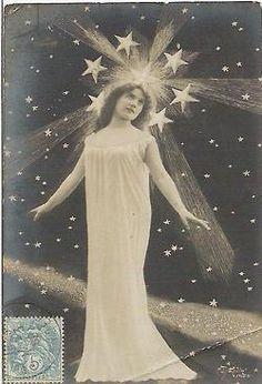 Surrealistic Set of 5 Postcards Art Nouveau Ladies With Dark Starry Sky Night Sky Stars, Sun And Stars, Night Rain, Vintage Cards, Vintage Postcards, Vintage Ephemera, Vintage Photographs, Vintage Photos, Star Goddess