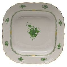 Herend Chinese Bouquet Green Square Fruit Dish  #Herend #Kitchen