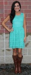 Lace Dress- Jade .. Cute with my cowgirl boots!