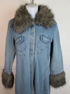Blanc Noir DENIM Blue Jean Jacket with Faux Fur Collar Full Length Coat Size L #BlancNoir #JeanJacket