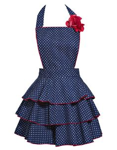 If ever there was a ruffled apron that was actually slimming, this might be it.  The flounces, rather than gathered ruffles, along with the dark color and the fact that they are all the same fabric, might have something to do with it.