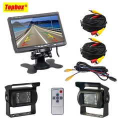 """2 x Backup Camera For Bus Truck RV 18 IR LED Night Vision Waterproof Rearview Reverse Back Up Camera + 7"""" LCD Rear View Monitor"""